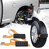 TEEWAL Snow Chains 2 Pcs Anti-Skid Tire Blocks, Emergency Snow Chain Car Vehicle