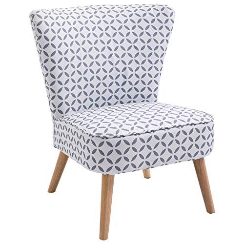 HOMCOM Cocktailsessel Loungesessel Esszimmerstuhl mit Rückenlehne Polstersessel Leinen Sessel Holz Grau-Weiß Gemustert 63 x 70 x 77 cm -