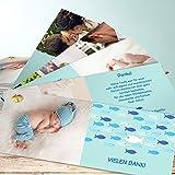 Danksagung Taufe, Guppy 200 Karten, Kartenfächer 210x80 inkl. weiße Umschläge, Blau
