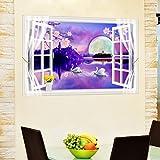 HCCY 3D estéreo Dejar la Ventana Pegatina Las Paredes de la habitación Las Habitaciones Son cálidas y Dejar la Ventana tratamientos sueño Carteles Personalidad Creativa Noche 88 * 55cm Pared Pinturas