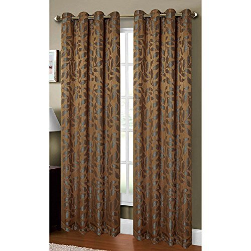Window Elements Alpine Textured Woven Leaf Jacquard Grommet 54 x 84 in. Curtain Panel, Mocha by Window Elements