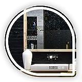 LED Beleuchtete Badezimmer-Spiegel-An Der Wand Befestigte Schminkspiegel-Explosionssichere Anti-Nebelschminke-Spiegel Mit Leuchten BerüHrungsschalter-Demister-Zeit-Temperatur-Anzeige