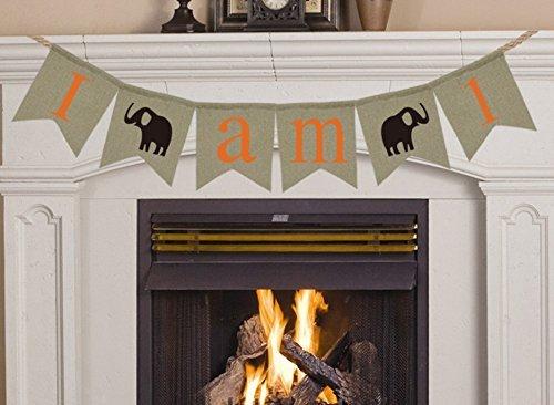 Cute Elefant Banner Jute I 'm 1personalisierte Geburtstags Banner für Jungen Mädchen Baby Dusche Banner