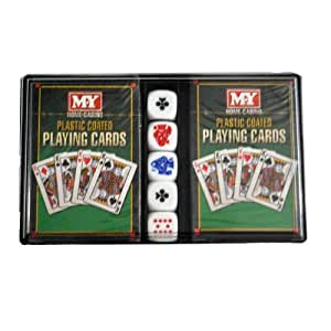 MY Games 2 Packs Of Playing Cards with 5 Poker Dice