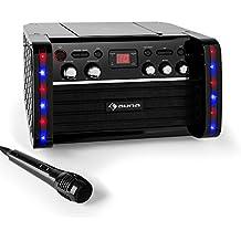 auna Disco Fever • Set de Karaoke • amplificador • 1 x micrófono dinámico • 2 x conexiones micrófono • reproductor CD+G • salida de vídeo • salida de audio • entrada AUX • soporte para tablet • negro