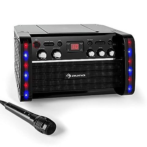 auna Disco Fever Chaîne Karaoké design et compacte (effets de lumière, echo, sortie vidéo, lecteur CD/-CD+G, entrée AUX, support iPad et micro inclus)