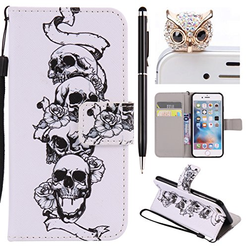 iPhone 6 Hülle,iPhone 6S Case - Felfy Flip Bookstyle Wallet Luxe Handyhülle Retro Painted Niedlich Farbe Muster Premium Slim PU Leather Stand Wallet Flip Lederhülle Case Cover Pouch Shell Soft mit TPU Schädel Cas