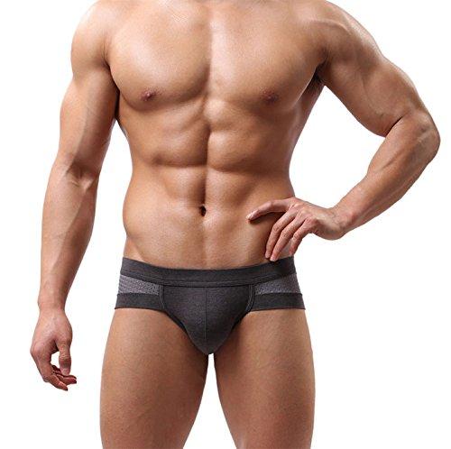 Sansee Männer sexy Cotton Unterwäsche Männer Boxer Unterhose Soft Slips (L, grau) (Fliegen Unterwäsche)