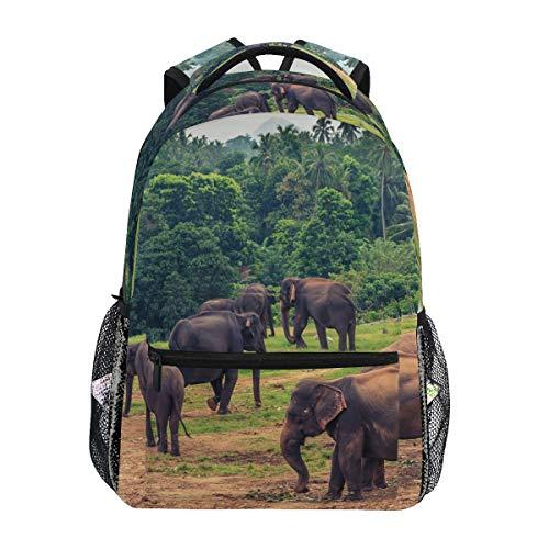 Twill Travel Laptop Backpack College School Bag para Mujeres, Hombres, Negocios, Elefantes...