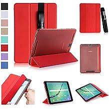 ISIN Funda para Tablet Serie Funda de Premium PU Smart Carcasa para Samsung Galaxy Tab S3 9.7 SM-T820 y T825 WIFI 4G LTE Android Tablet con Soporte para Samsung S Pen (Rojo)