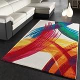 Teppich Modern Bunt Teppich Splash Brush Leinwand Optik Creme Grün Blau Rot Gelb, Grösse:120x170 cm