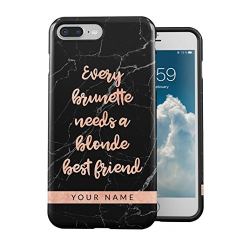 Personalisiert Bestfriend Custom Text Name Every Brunette Needs A Blonde Best Friend Case Cover Kompatibel mit iPhone 7 Plus / 8 Plus Hülle 2-Teilig, Doppellagig: PC + TPU Robuste Handyhülle - Glänzendes Blond