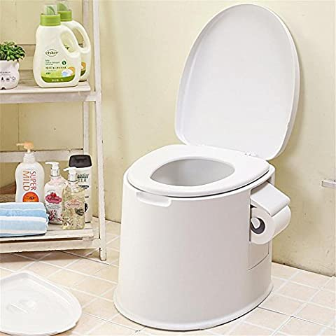 KDGWD Folding Commode ®Compact Portable Toilet Potty Loo with Washable Basket and Toilet Roll Holder for Pool Party Camping Caravan Picnic & Festivals , luxury white