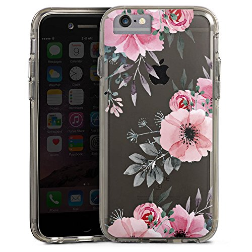 Apple iPhone 7 Plus Bumper Hülle Bumper Case Glitzer Hülle Blumen ohne Hintergrund Transparent Floral Bumper Case transparent grau