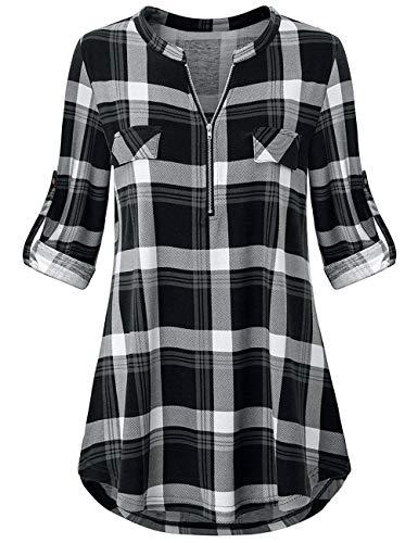 Odosalii Damen V-Ausschnitt Kariert Bluse 3/4 Ärmel Langarm Reißverschluss Tunika Longshirt Hemd Tops T-Shirt, XXL, A_schwarz Kariert