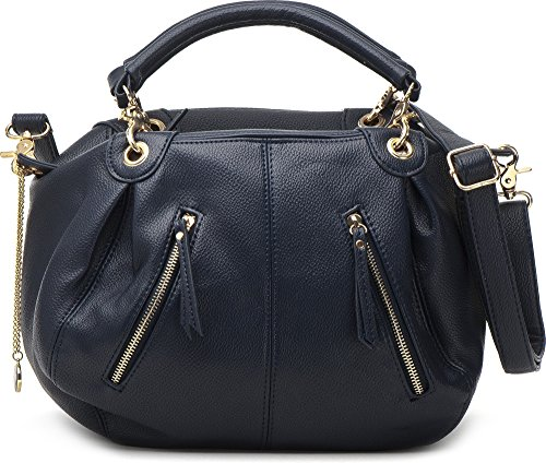 Masquenada, Damen Handtaschen, Henkeltaschen, Bowlingbags, 36,5x25,5x12,5cm (B x H x T), Farbe:Dunkelblau (Navy)