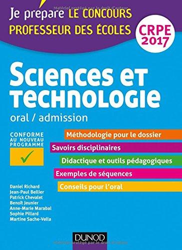 Sciences et technologie - Professeur des écoles - Oral, admission - CRPE 2017
