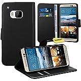 HTC One M9 Handy Tasche, FoneExpert® Wallet Case Flip Cover Hüllen Etui Ledertasche Lederhülle Premium Schutzhülle für HTC One M9 (Schwarz)