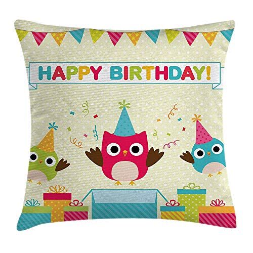 Moss Green Dot (Yinorz Birthday Decorations for Kids Throw Pillow Cushion Cover, Happy Chubby Baby Owls Flags Box on Polka Dots Backdrop Image, Decorative Square Accent Pillow Case, 18 X 18 Inches, Multicolor)
