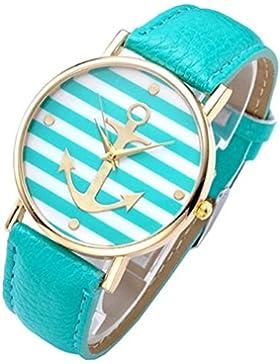 SSITG Damen Uhr Vintage Damen unisex Armbanduhr Anker Quarzuhr Lederarmband Uhr Analog Anker A7