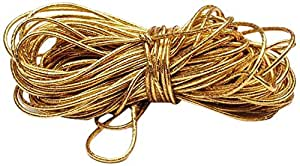 Beads Unlimited 1 mm Gold Plated Metallic Elastic, Pack of 10 m