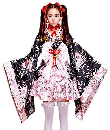 Sheface Damen Cosplay Lolita Kostüm Japanische Kimono Anime Kostüm - Pink - (Japanische Dame Adult Kostüm)