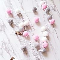 Hinmay - Guirnalda de Fieltro de Lana, 2 m, 30 Piezas, para decoración de la habitación de los niños, Hecha a Mano, para Colgar en la Pared, para Dormitorio, Fiesta, White+Pink+Gray, Tamaño Libre