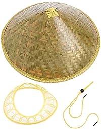 Delicacydex Cappello da Sole Orientale Coolie Cinese Cappello da Paglia in  bambù teso Cappellino da Pioggia 4a4ac636151a