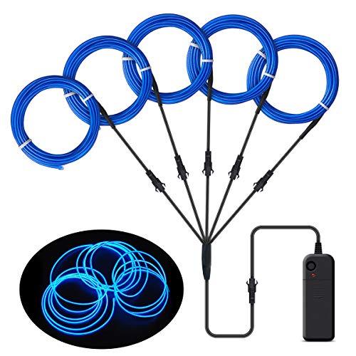 Songway EL Wire, luces de neón de cuerda, luz estroboscópica intermitente, cable de alambre electroluminiscente para la fiesta de Halloween Carnaval navideño Decoración del festival (Blue)