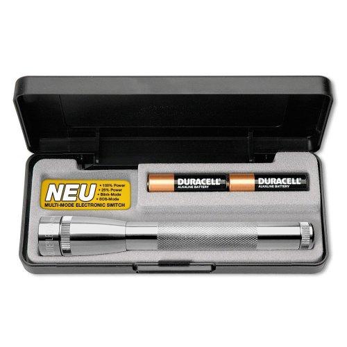 Mag-Lite SP22107F - Torcia mini, multimode, LED ad alta prestazione, 17 cm, 2 batterie AA e custodia incluse, colore: Argento