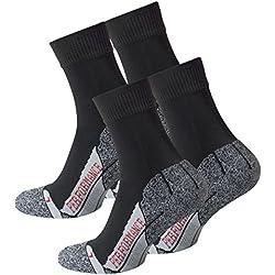 VCA Lot de 2 paires de chaussettes multifonctionnels, PERFORMANCE Haute technologie rembourrage spécial, chaussettes de randonnée, UNISEX, Noir, 39/42