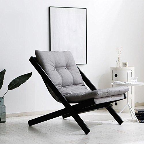 LI JING SHOP - pli Chaise longue Tapis de coton avec bois massif loisirs canapé paresseux Agrandir la taille 65X89X78cm taille de pliage 134X8 cm ( Couleur : Gris argent )