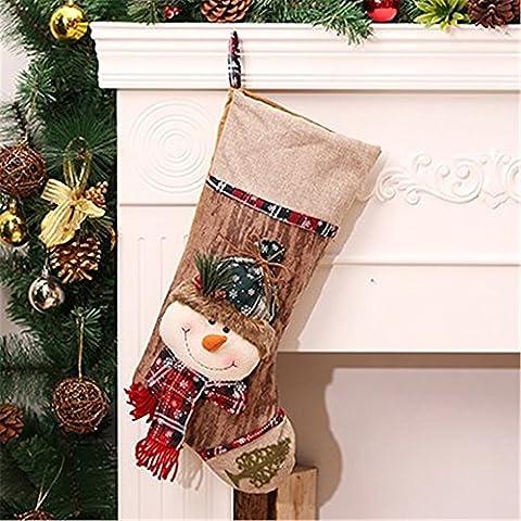 Serie de Navidad gracioso Novedad Decoración juguetes blandos regalos:Medias de Navidad Creative Medias de Navidad regalos de Navidad bolsas, cara grande muñeco de nieve (tubo de 46cm de alto medias 23cm de ancho)