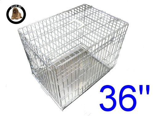 ellie-bo-dog-puppy-cage-folding-2-door-crate-with-non-chew-metal-tray-large-36-inch-silver