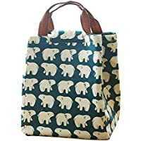 Preisvergleich für Mziart Cute Reusable Cotton Lunch Bag Insulated Lunch Tote Soft Bento Cooler Bag (Polar Bear) by Mziart