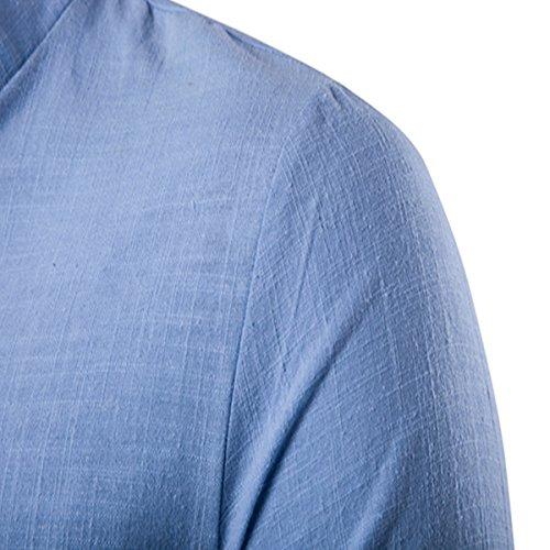 MODCHOK Herren Langarm Shirt Longsleeve Leinen Hemd V-Ausschnitt Slim Casual Azurblau