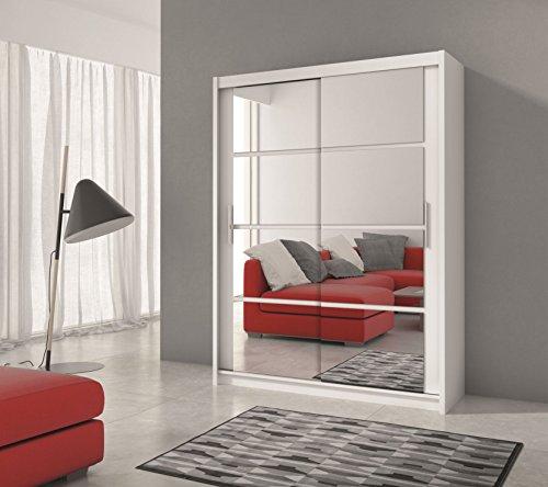 Schiebetürenschrank - Kleiderschrank - Schwebetürenschrank DACOTA in Weiß, mit Frontspiegel, Breite: 160/203cm, Höhe: 215 cm, Tiefe: 61 cm