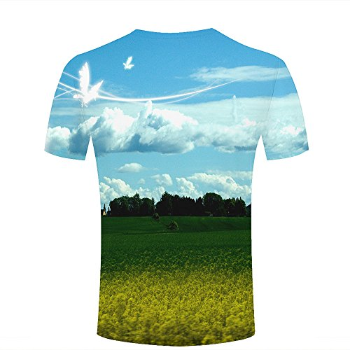 qianyishop Mens 3D Printed Dreamy World/Rape Flowers Field Graphic Couple T-Shirts B