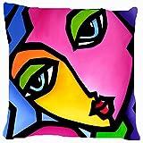 Housse de coussin Couvre-lit Taie d'oreiller 45,7cm Pop Art abstrait coloré Fille visage les deux côtés d'image Fermeture Éclair