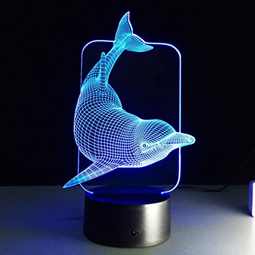 huhua 3D ILLUSION Visual Nachtlicht 7Farben ändern LED-Schreibtisch-Lampe Schlafzimmer Home Decor multi (Temperatur ändern Led-lampen)