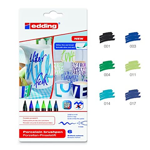 Edding Porzellan-Stift Set à 6 Stück, Blautöne [Spielzeug] (Porzellan Spielzeug)