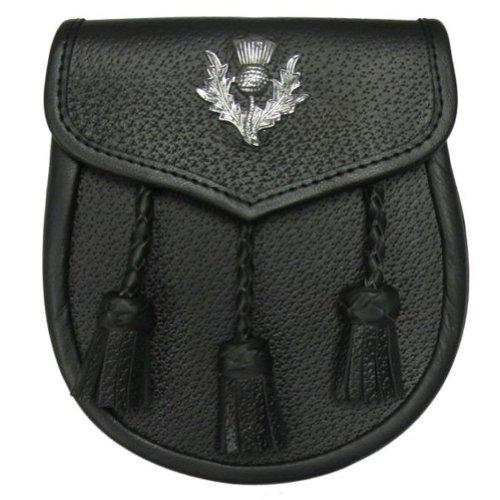 Tartanista - Herren Semi-Dress-Sporran für Kilts - Schwarzes Leder - mit Distel-Emblem - Emblem Aus Leder