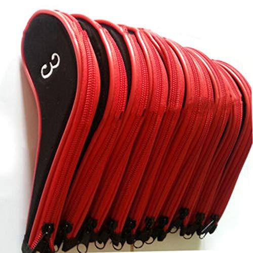 LAIZETONGXUN Golfschläger-Set, langlebig, 10 Stück, Rot/Schwarz