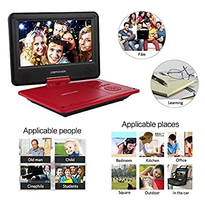 "DBPOWER 9.5"" Portable DVD Player, 5 Hour Rechargeable Battery, Swivel Screen, Supports SD Card and USB, Direct Play in Formats AVI/RMVB/MP3/JPEG"