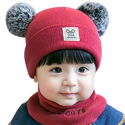 Mitlfuny Unisex Baby Kinder Jungen Zubehör Säuglingspflege,Neugeborenes Kind Baby Boy Girl Pom Hut Winter Warm Knit Crochet Beanie Cap Schal Set Boys Knit Winter Hut