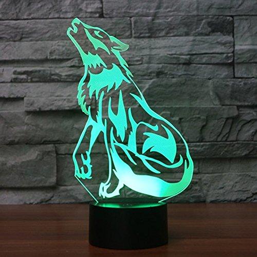 3D Wolf Lampe USB Power 7 Farben Amazing Optical Illusion 3D wachsen LED Lampe Formen Kinder Schlafzimmer Nacht Licht.