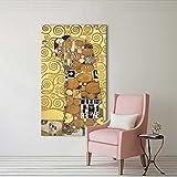XIAOXINYUAN Golden Gemälde Reproduktion auf Leinwand Gedruckt Öl Malerei Schöne Frau Artwork Wand Bild Drucken 24 X 40 cm Ohne Rahmen Kiss