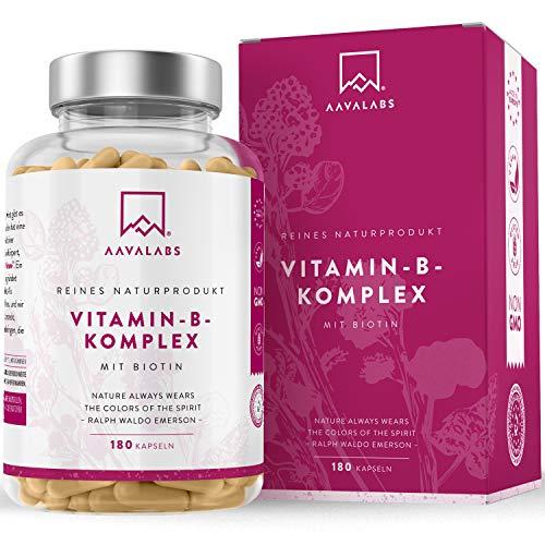 Vitamin B Komplex Hochdosiert - 6 Monate Vorrat (180 Kapseln) - enthält 8 essentielle B Vitamine inkl. B12 B1 B6 B7 mit Biotin und Folsäure - 100{eb3f206af8d18d811adcdb44373590976274e5b5d5918670022ab2fac42c5f0e} vegan - getestet durch unabhängige Drittlabore