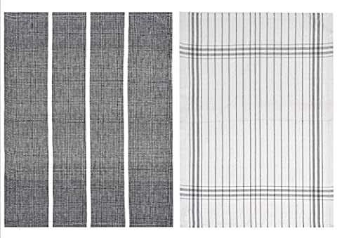 Rushbrookes 50 x 70 cm 100 Percent Cotton Luxury Pure Waffle Tea Towels with Stripes, Set of 2, Black/Grey