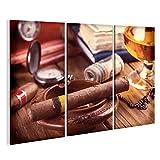 islandburner Bild Bilder auf Leinwand Entspannende kubanische Zigarre nach hartem Tag, mit Glas Rum Wandbild Leinwandbild Poster DKZ